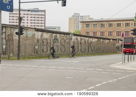 Berlin Germany - May 16 2017: The remains of berlin wall in the city of Berlin.