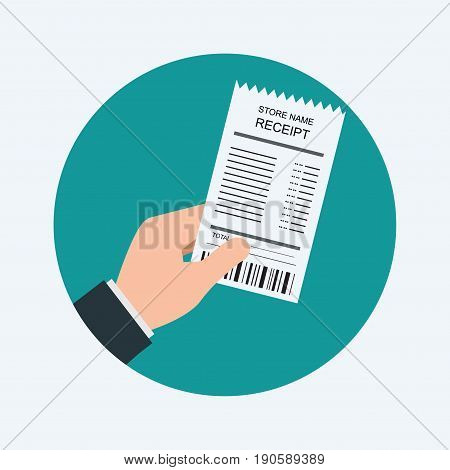 Human Hand holding grocery shooping receipt isolated on blue backgroundvector illustration.