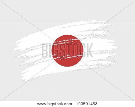 Flag of Japan grunge style. Isolated vector illustration on white background.