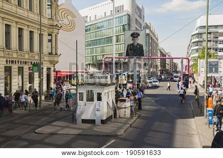 Tourists At Checkpoint Charlie