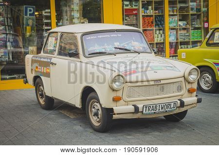 Berlin Germany - May 16 2017: Vintage Trabant cars at Trabi Musem. The automobile was produced from 1957 to 1990 by former East German auto maker VEB.