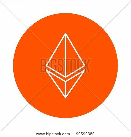 Stylized symbol of the ethereum crypto currency vector monochrome round icon flat style