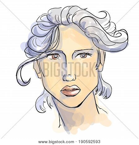 Hand-drawn graphics fashion portrait with beautiful young woman with white hair inviting girl top model. For your design logo signage brochures booklets on business cards in beauty salons. Vector sketch style