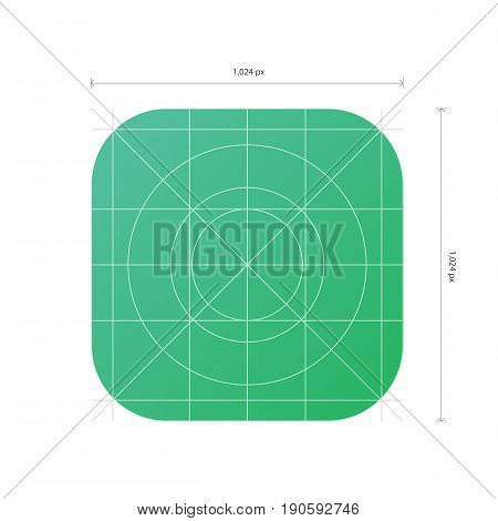 Vector App Icon Template With Dimensions, Development Grid Line