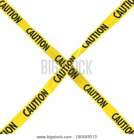 Caution Barrier Tape Yellow And Black Cross Isolated On White Background 3D Illustration