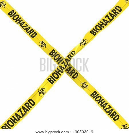 Biohazard Barrier Tape Yellow And Black Cross Isolated On White Background 3D Illustration