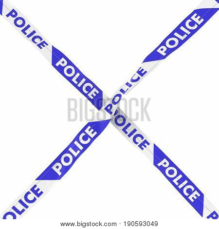Police Barrier Tape Blue And White Cross Isolated On White Background 3D Illustration