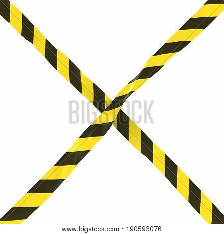 Yellow And Black Striped Barrier Tape Cross Isolated On White Background 3D Illustration