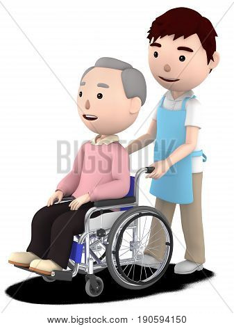 A male helper to help with an old man sitting on a wheelchair,3D illustration