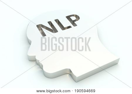 NLP head on white background 3D illustration
