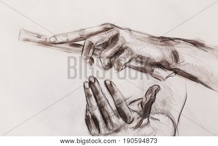 Drawing hand and flute, pencil sketch on paper