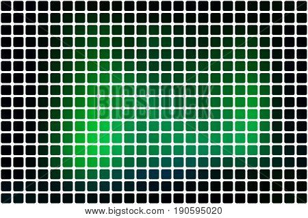 Glowing Neon Green Abstract Rounded Mosaic Background Over White