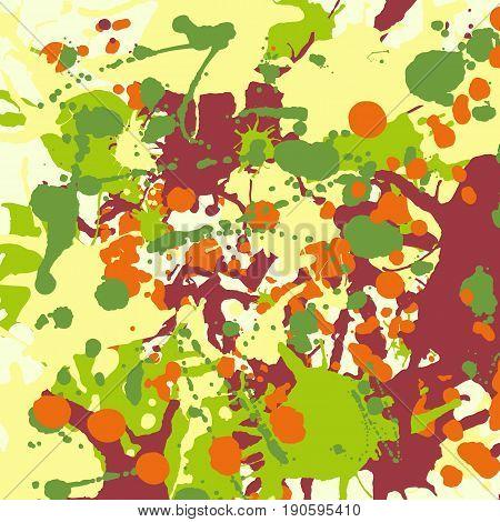 Maroon Orange Yellow Green Ink Splashes Background Square