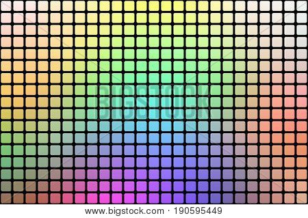 Light Rainbow Abstract Rounded Mosaic Background Over Black