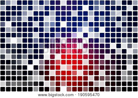 Deep Blue And Red Occasional Opacity Mosaic Over White