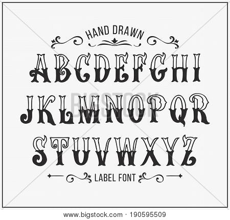 Hand drawn letters. Vector alphabet in Victorian style