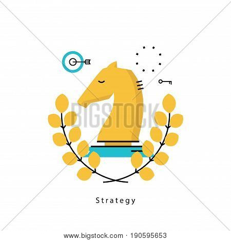 Leadership in business, strategic planning and business strategy flat vector illustration design. Success in business, leadership design for mobile and web graphics