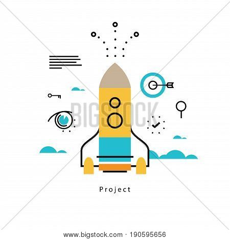 Project startup flat vector illustration design. Project management, launching, implementation, business startup design for mobile and web graphics
