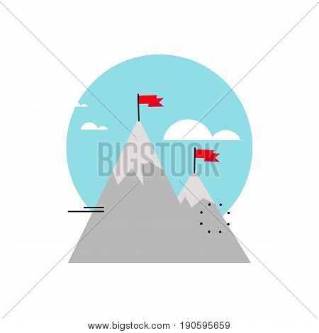 Business goals, company mission, progress in business, business objective flat vector illustration design for mobile and web graphics