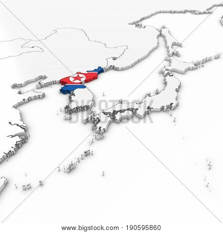 3D Map Of North Korea With North Korean Flag On White Background 3D Illustration