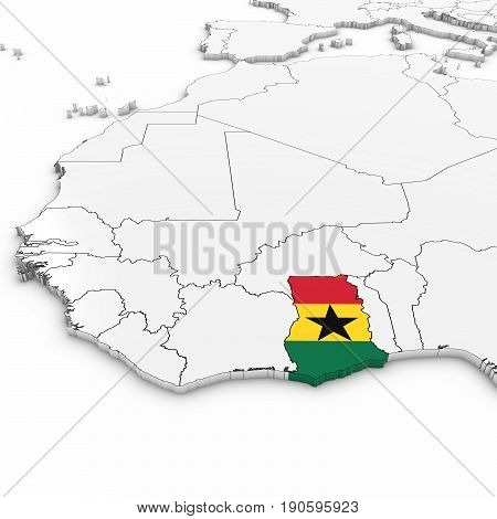 3D Map Of Ghana With Ghanaian Flag On White Background 3D Illustration