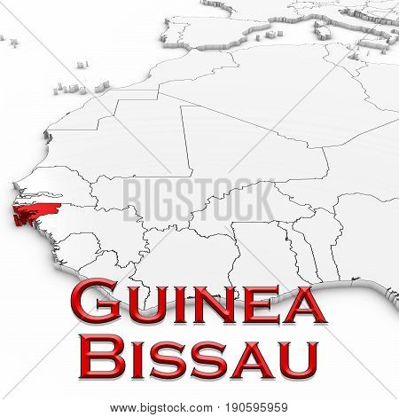 3D Map Of Guinea-bissau With Country Name Highlighted Red On White Background 3D Illustration