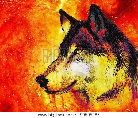 Wolf portrait, mighty cosmical wolf in cosmic space