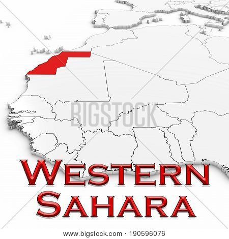 3D Map Of Western Sahara With Country Name Highlighted Red On White Background 3D Illustration