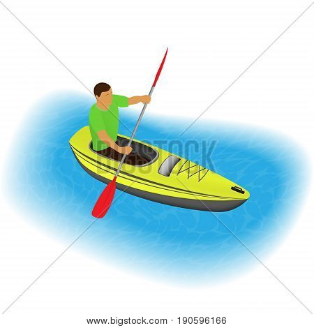 Kayaker character paddling on a kayak. Sports traveling man with paddle boating on canoe through river or sea. Leisure concept. Vector illustration.