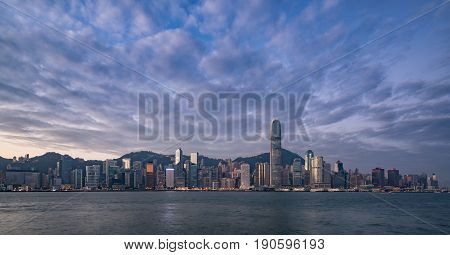 Beautiful view of Hong Kong skyline at sunrise