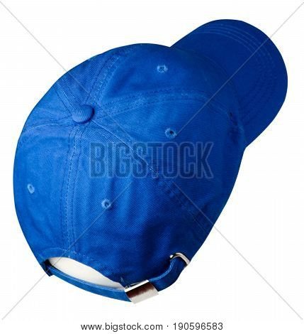 Hat Isolated On White Background. Hat With A Visor . Blue Hat