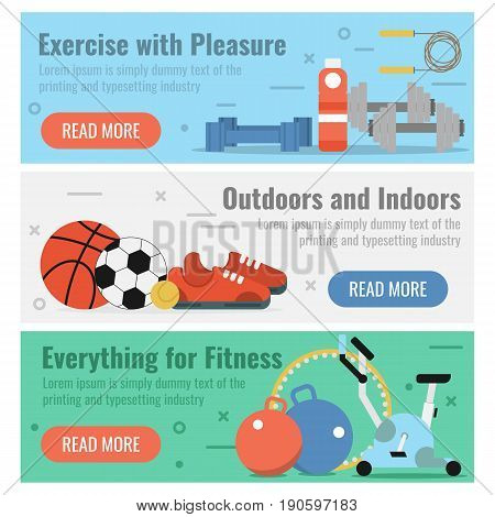 Vector horizontal three banners for fitness sport in flat style with button and text. Exercise with pleasure, outdoors recreation and necessary equipment for fitness on colored backgrounds