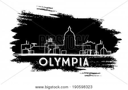 Olympia Skyline Silhouette. Hand Drawn Sketch. Business Travel and Tourism Concept with Modern Architecture. Image for Presentation Banner Placard and Web Site.