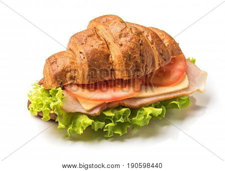 Croissant Sandwich With Hum And Tomato Isolated