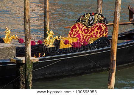 Detail of traditional venetian gondola interior, Veneto