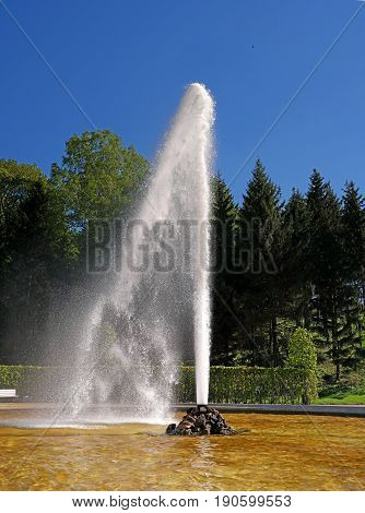 Fountain in the lower park of the Petergof's palace complex. The park area of 112, 5 hectares is decorated with about 150 fountains. St. Petersburg. Russia.