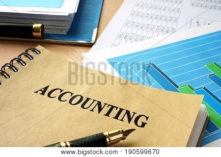 Book with title Accounting. Budget balance concept.