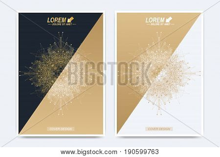 Modern vector template for brochure, Leaflet, flyer, advert, cover, catalog, poster, magazine or annual report. Business, science and technology design book layout. Presentation with golden mandala