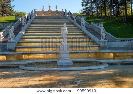 Cascade of the Golden Mountain. The prototype for it was one of the cascades of the French royal residence, Marley le Roy. Decorated with sculptures of Greek gods. Petergof, Russia.