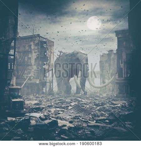 giant elephant in destroyed city.3d  creative art illustration concept.  Noise added
