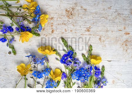 Frame From Two Small Bouquets Of Wild Flowers, Buttercup And Forget Me Not On The Old Painted White