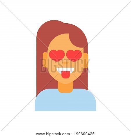 Profile Icon Female Emotion Avatar, Woman Cartoon Portrait Happy Smiling Face Showing Tongue Herat Shape Eyes Vector Illustration