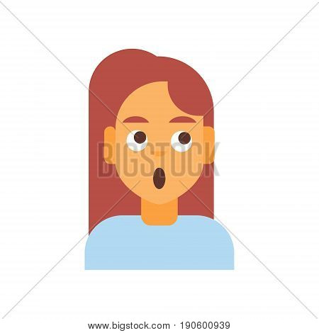 Profile Icon Female Emotion Avatar, Woman Cartoon Portrait Shocked Face Vector Illustration
