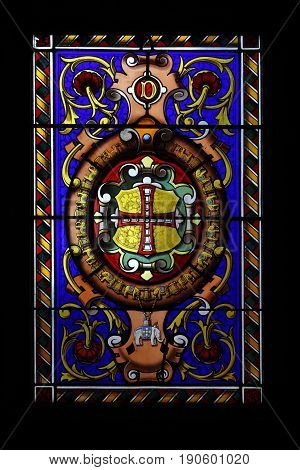 HILLEROD, DENMARK - JUNE 30, 2016: This is stained-glass window with noble arms in the palace church of the Frederiksborg Castle.