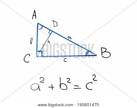 Pythagorean theorem on classroom whiteboard mathematical formula