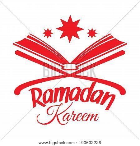 Ramadan Kareem greeting card with Islamic Koran. Illustration for muslim holy month Ramadan. Vector