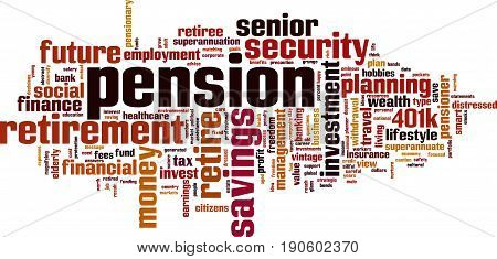 Pension word cloud concept. Vector illustration on white