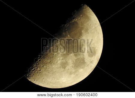 Close up view and glow of moon in the darkness