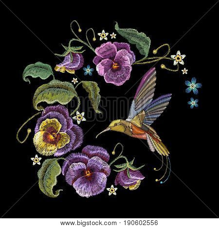 Violets flower and humming bird embroidery. Classical embroidery beautiful flowers of violet on black background. Fashionable design of clothes t-shirt design