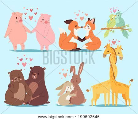 Animals couple in love valentines day holiday vector illustration. Adorable pet relationship cartoon romance nature design. Romantic happy heart mammal.